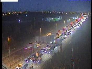 Three lanes of the M62 have been closed at Wakefield this afternoon after a collision. Photo: Highways England.