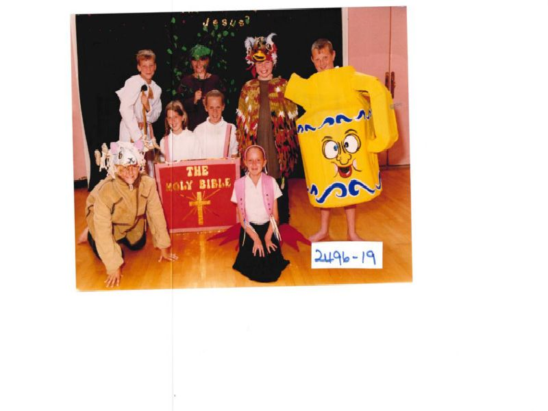 Southdale Junior School performs a Christian play. Published in the Wakefield Express 19.7.1996.