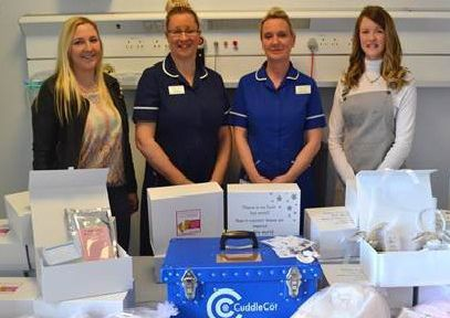 Nicola Callaghan (right) with friend Shelley Lee (left), bereavement support midwife Helen Holland, and deputy delivery suite manager Naomi Pollock.