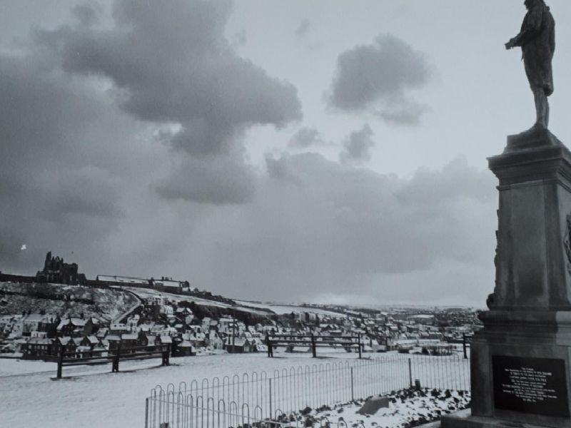 Snow around the Captain Cook statue makes for a pretty sight in Whitby, January 1987.