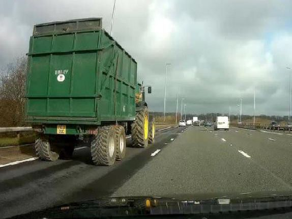 Tractor on the M6.