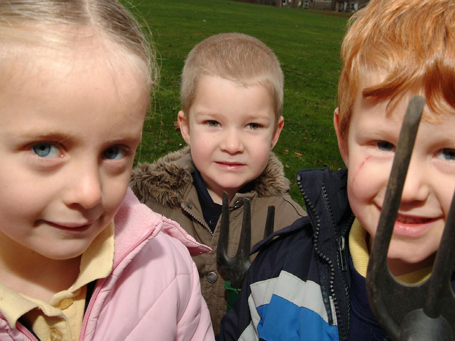 2007: This  trio from Manton New Primary School get ready to help plant trees as part of The Woodland Trust project Trees For All. Pictured left to right are: Lily Atkinson, Zak Ebbs and Josh Keily.