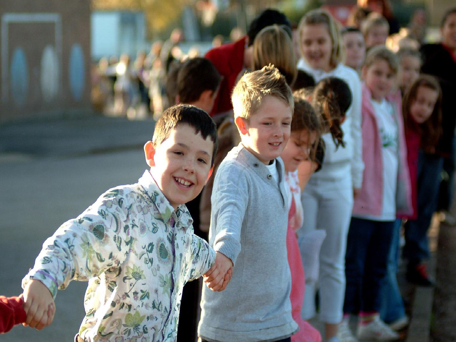 2009: Pupils from St Augustines Junior School in Worksop form a human chain around the school for anti bullying week. Were you part of the chain?