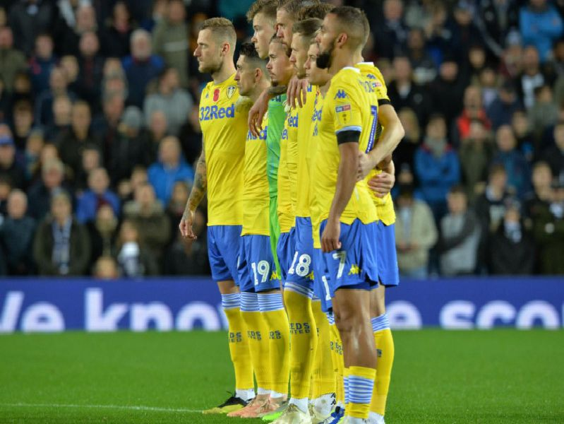 Leeds United's players line-up ahead of kick-off at The Hawthorns.