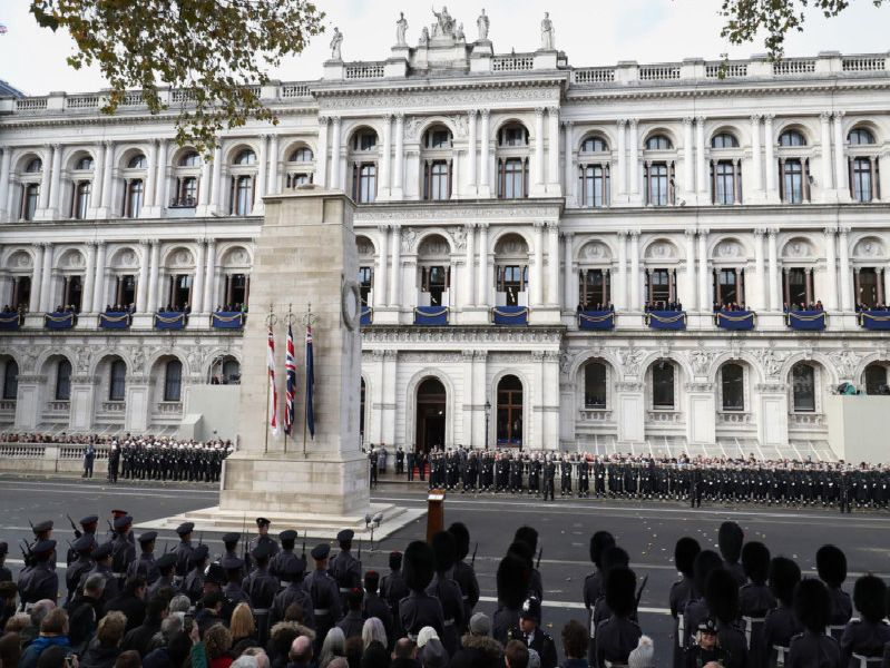 Military officials line-up at the Cenotaph during the remembrance service in Whitehall, central London, on the 100th anniversary of the signing of the Armistice which marked the end of the First World War.