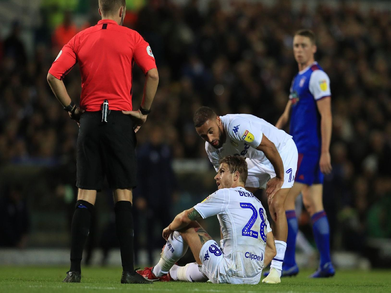 Leeds United defender Gaetano Berardi picks up a hamstring injury against Ipswich Town.