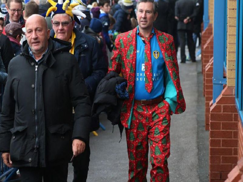 Festive fan makes his way into Elland Road. PIC: Andrew Varley