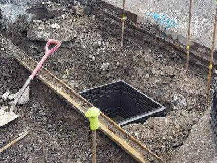 Old tram rails have been revealed during roadworks near Leeds Bus Station