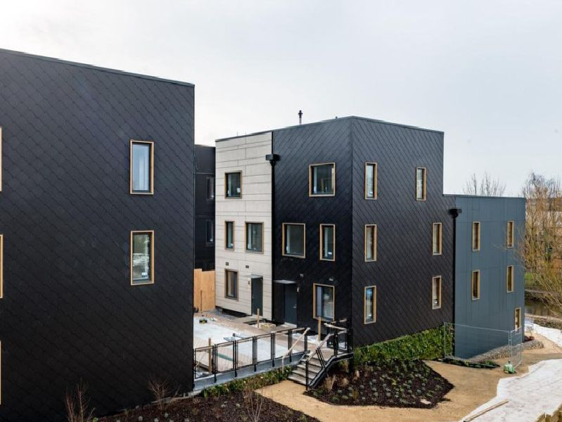 The Scandi-inspired houses have triple glazed windows and high levels of insulation. They are 6.3 times quieter than building regulations demand.
