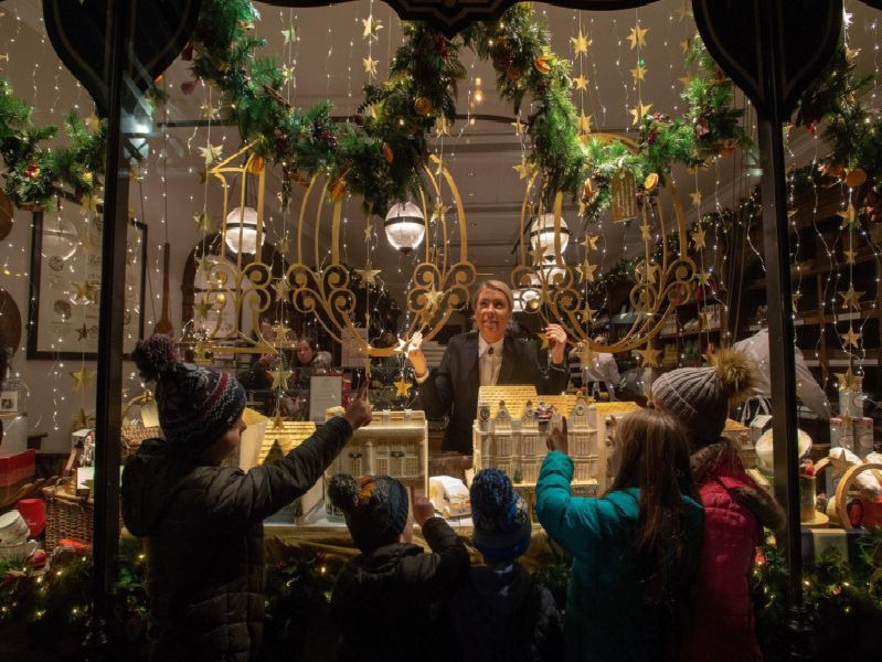 Chrissy de Priz and Betty's Christmas window dispaly is revealed celbrating their 100th Anniversary.