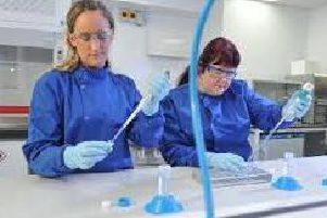 Analytical scientists Olivia Scott and Gill Riches in the labs at Tissue Regenix in Swillington, Leeds. Picture Tony Johnson.