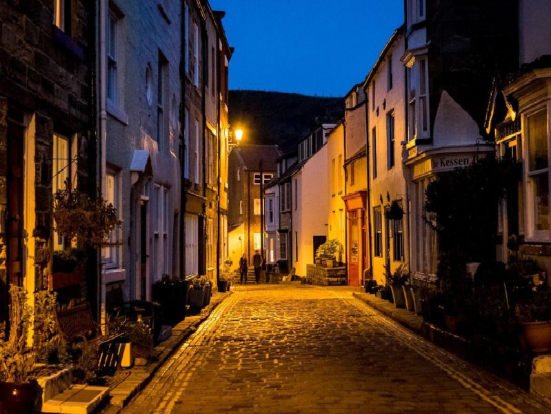 The village of Staithes, near Whitby, at night