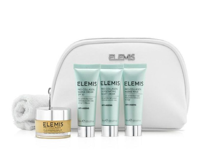 Elemis Pro-Collagen Discovery Kit. Contains Pro-Collagen Cleansing Balm 20g + Cleansing Cloth; Marine Cream SPF30 15ml; Pro-Collagen Oxygenating Night Cream 15ml; Pro-Collagen Marine Mask 15ml; Elemis Beauty Bag, 61 at Elemis.com and stockists including Titanic Spa.