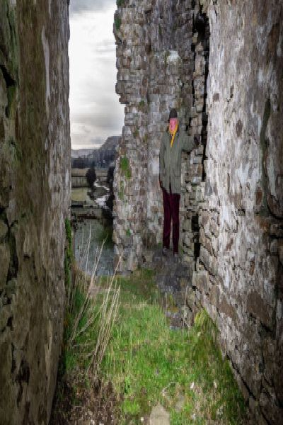 Date:18th January 2019.'Picture James Hardisty.'YP Magazine......Pendragon Castle a Grade I Anient Monument, situated four miles south of Kirkby Stephen in the Mallerstang dale. Pictured 'A view looking out of the bedroom of Lady Anne Clifford, Countess of Pembroke, Dorest and Montgomery, a well-preserved room on the first floor with a vaulted ceiling a window to the west and an area of orginal plaster, along with John Bucknall, 69, owner of Pendragon Castle admiring remains of his castle.