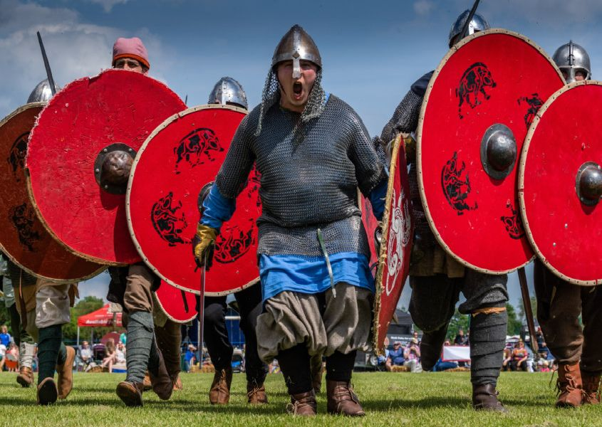 The first Viking Festival held at Ulleskelf, near Tadcaster, with entertainment from Jorfor's Hall Viking reenactment group.
