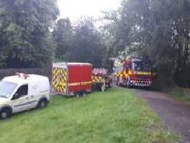 Fire crews at Lumbutts Resevoir (Photo: West Yorkshire Fire and Rescue Service).