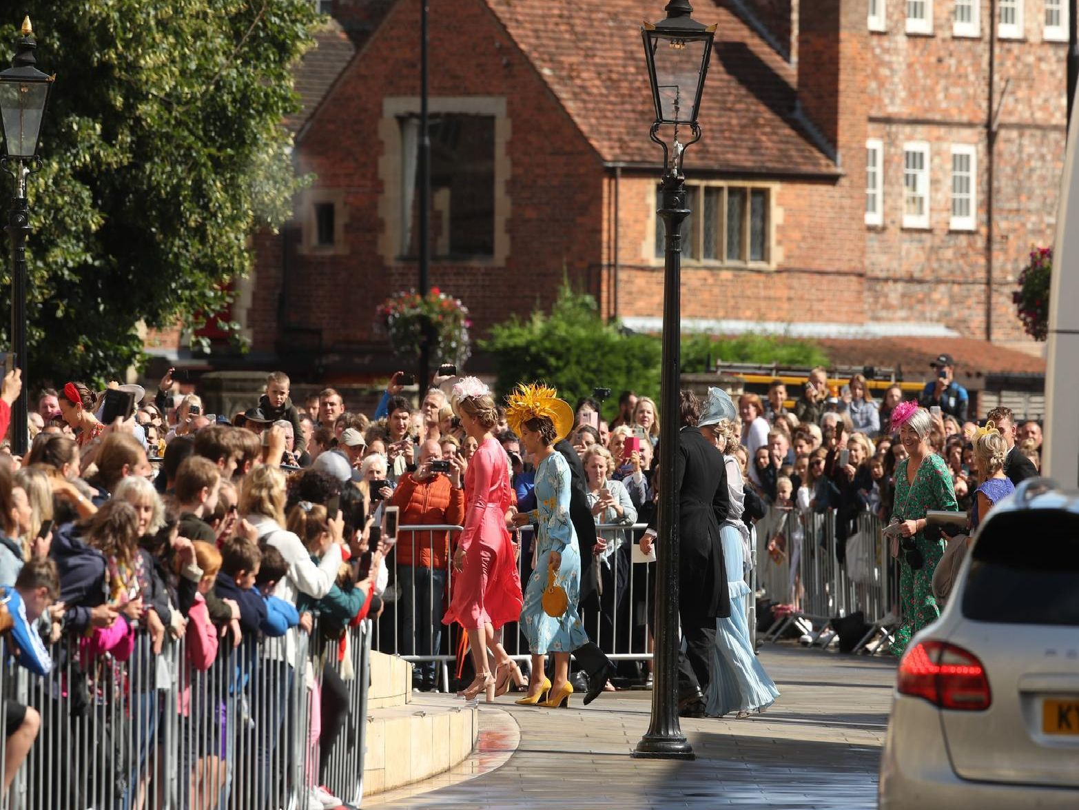Crowds gather outside York Minster as the guests arrive