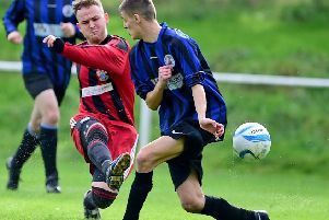 Lower Hopton's Aaron Kennedy has a shot during his side's impressive West Riding County Challenge Cup victory over Fieldhead Hospital last Saturday. Picture: Paul Butterfield