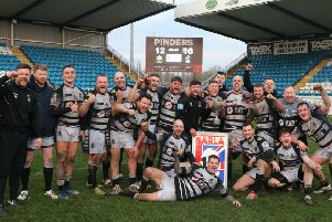 Mirfield Stags celebrate winning the Yorkshire Cup for the first time following a hard-fought victory over Drighlington in last Sunday's Final at Featherstone. Picture courtesy of Stephen Gaunt/Touchlinepics.com