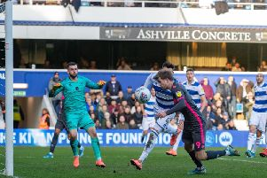 Patrick Bamford misses from close range as Leeds United lose at QPR. Picture: Bruce Rollinson