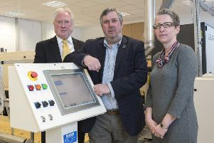 Launch: Bill Macbeth (Textile Centre of Excellence), Cllr Graham Turner (Kirklees Council) and Alison McIntyre.