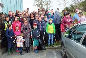 Great turnout: Miss Sherriff joined over 75 local people for the Big Spring Clean. Photo: Ian Gunson.