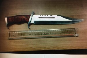 Dagger found on man who was found to be over the drug drive limit by West Yorkshire Police. Picture: West Yorkshire Police RPU