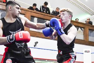 KBW boxer Saad Zaaman faced Training Cave debutant Luke Heaton on his club's home show in Dewsbury. Picture: Sam Young