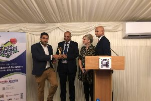 Abdul Ravat from Mount Cricket Club  receiving the award from Arbinder Chatwal, Head of India Advisory Services at BDO, accompanied by Tracy Brabin MP and Dharmesh Sheet of Sky Sports News.
