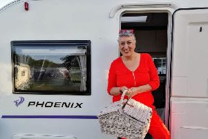 Karen on a Caravan and Motorhome Club site in Kent