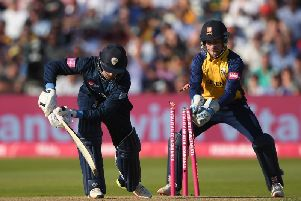 Leus du Plooy of Derbyshire is bowled by Simon Harmer of Essex during the Vitality T20 Blast semi-final.