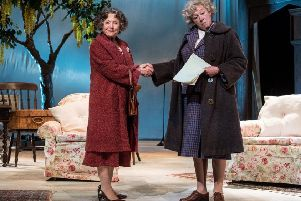 Lin Blakley and Sarah Parks in Murder, Margaret and Me. Photo by Craig Sugden.