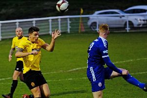 Phil Watt making his 150th appearance for Belper Town in the defeat of Sutton Coldfield. Pic by Tim Harrison.