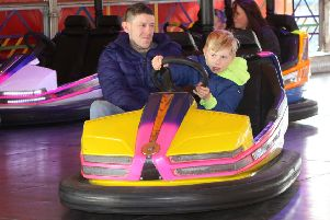 Anthony and Callum Blount on the dodgems at Belper Fair in 2017.