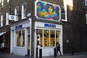 Duffield artist Iona Rowland has unveiled her latest work based on a picture of Agatha Christie at the Seven Dials in Covent Garden, one of of London's busiest shopping destinations.