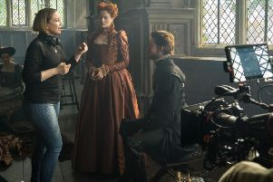 Actress Margot Robbie films a scene at Haddon Hall.  c. Focus Features LLC All Rights Reserved.