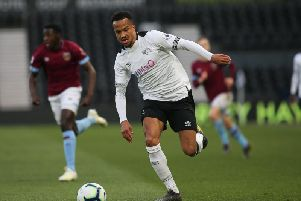 Marcus Olsson in action for Derby against West Ham. Photo by Jez Tighe.