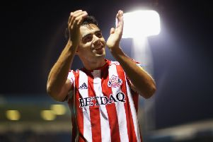 GILLINGHAM, UNITED KINGDOM - AUGUST 22:  Reece James of Sunderland celebrates at the full time whistle after the Sky Bet League One match between Gillingham and Sunderland at Priestfield Stadium on August 22, 2018 in Gillingham, United Kingdom.  (Photo by Naomi Baker/Getty Images)