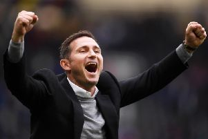 Frank Lampard celebrates after seeing his Derby County side beat WBA.