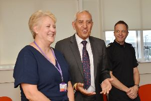 Pictured is Sally Goodwin, of SV2, with Derbyshire Police and Crime Commissioner Hardyal Dhindsa and ACC Paul Gibson