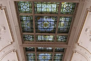 Part of the restored window in the ceiling above the council chamber