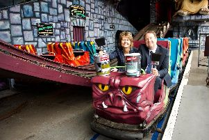 Tina Redford and Gareth Jones on the famous Ghost Train, which is inspired one of the colours - Ghost Train Purple
