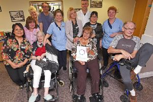 Staff and residents at Amber Court care home
