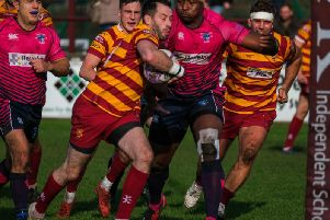 Top point-scorer Greg Smith goes over for a Fylde try Picture: MARTIN BOSTOCK
