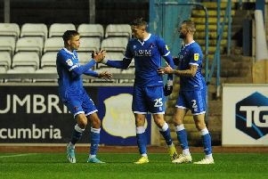Ryan Loft celebrates after scoring Carlisle's equaliser