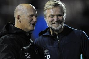 Steven Pressley pictured with Simon Grayson before the game