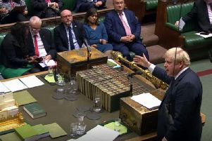 Prime Minister Boris Johnson speaks during the election debate ahead of the vote in the House of Commons, London on Monday October 28, 2019.