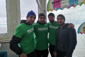 Gurparshad Singh, Nishan Singh, Gurbhashak Singh, Gurtaik Singh who took part in a sponsored walk from Leyland to Blackpool for Macmillan in memory of mother and grandmother Surinder Kaur