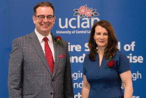 UClan's Professor Chris Pyke with Dr Eliza Morgan,  Leadership Hub director, Reader in Innovation and Enterprise at  the university