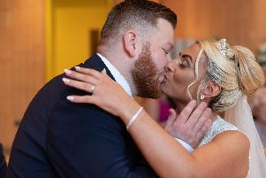 Nerves evaported for Bethany as she walked down the aisle at the Wedding Chapel in Blackpool, to exchange vows with Ryan, an emergency ambulance dispatch controller.